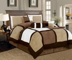"Textiles Plus 7-Piece Micro Suede Patchwork Bed-in-a-Bag Comforter Set, Queen, Brown/White/Black by Textiles Plus. $68.63. Care : machine wash gentle cycle with cold water, sun dry or low tumble dry. Fabric content: 100 percent polyester. Micro suede. Includes 90""x92"" comforter, 2 queen sham 21""x27"", bed skirt 60"" x 80"" plus 14, neck roll 7"" x 16.5"", breakfast 11"" x 18"", square pillow 18""x18"". Comforter sets are designed to keep you updated and fashionable in the most conveni..."