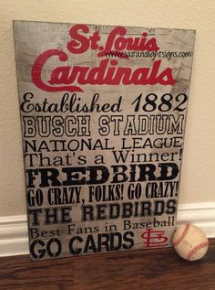 http://www.saltandlightsigns.com  St Louis Cardinals baseball wooden sign