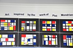 Collage with primary squares and rectangles, black strips.