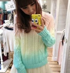 Image of Sweet Knit Gradient Color Sweater&Cardigan