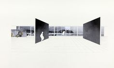 Katarina Burin Hotel Nord-Sud, Zadar Lobby Interior, alternative perspective drawing, 1932-34 / 1976 Ink and collage on paper 24 x 42 inches