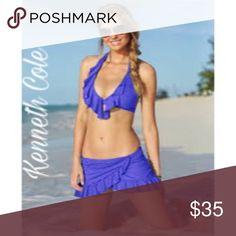 Ruffled Halter Bikini  Top Kenneth Cole ruffle halter bikini top. Color: ocean/blue.  Kenneth Cole Swim Bikinis