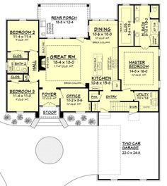 European Style House Plan - 3 Beds 2 Baths 1870 Sq/Ft Plan #430-107 Floor Plan - Main Floor Plan - Houseplans.com by susanna