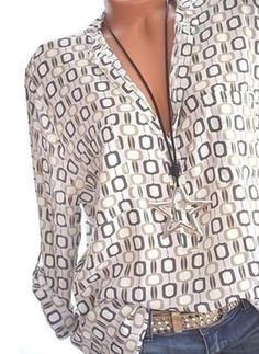 Women Shirts Summer Autumn Casual V-neck Loose Chiffon Blouse Women Top Camisa Feminina Long Sleeve Ladies Print Blouses Shirt - white XXXL V Neck Blouse, Short Sleeve Blouse, Long Sleeve Shirts, Cardigan Vert, Pull Beige, Cheap Womens Tops, Plus Size Blouses, Printed Blouse, Work Blouse