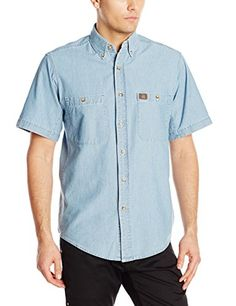 RIGGS WORKWEAR by Wrangler Men's Chambray Work Shirt,Light Blue,Large