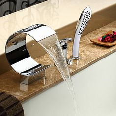 Sprinkle® Tub Faucets , Contemporary with Chrome Single Handle Three Holes , Feature for Waterfall / Widespread 2016 - $154.99