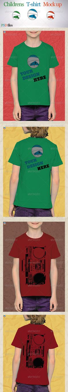 Childrens Tshirt Mock Up — Photoshop PSD #t-shirt #design • Available here → https://graphicriver.net/item/childrens-tshirt-mock-up/8078654?ref=pxcr
