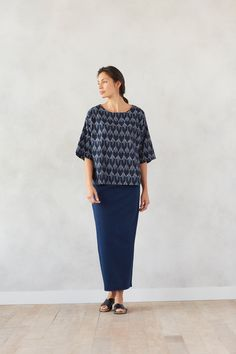 Simple shapes in rich indigo with our Pure Jill ikat kimono and Pure Jill indigo knit maxi skirt
