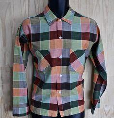 5a541a76f3a Men s Vintage Cranbrook Cotton-Rayon Plaid Dress Shirt  Mens 1960s  Size 15  1 2 M