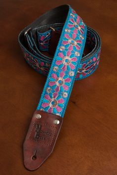 Embroidered Pink/Blue Flower Guitar Strap by nowherebearstraps, $70.00