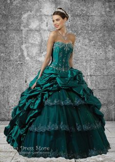 Ball Gown Strapless Neckline Floor length Sleeveless Taffeta & Tulle Quinceanera Dress with Embroidery (SAS480)