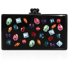 Edie Parker Jeweled Acrylic Box Clutch featuring polyvore women's fashion bags handbags clutches apparel & accessories acrylic clutches kiss lock handbags acrylic box clutch acrylic purse kisslock purse