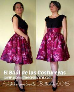 Patrón costura gratis Vestido envolvente Vintage Años 50 Dress Walk-Away Butterick 6015