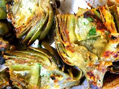 grilled artichokes quartered & drizzled with olive oil and romano cheese, garlic and fresh parsley