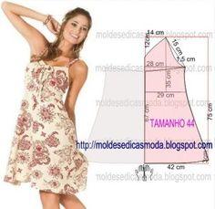 Analise com atenção o passo a passo da construção molde de vestido florido. O molde de vestido encontra-se no tamanho 44. A ilustração do molde não tem...