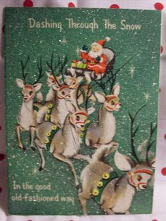 Vintage Christmas Glitter Pop up Card by jillybee123 on Etsy