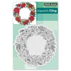 Penny Black - Slapstick Cling Stamp - Poinsettia Wreath