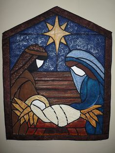 wow - nativity quilt, love the stained glass look