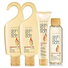 SKIN SO SOFT Signature Silk - boosts radiance and instantly illuminates skin with Argan Oil. Scented with peony and soft musk. Skin looks and feels more elastic, smoother and softer. A $27 value, the set includes: 2 Shower Gels – Each 5 fl. oz. A $6 value each. Replenishing Hand Cream – 3.4 fl. oz. A $4.50 value. Perfecting Oil – 2 fl. oz. An $11 value.