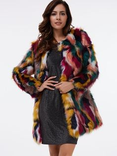 Ericdress Loose Color Block Faux Fur Coat