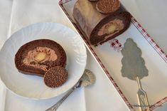 "Tort Diana cu ciocolata, castane, nuca si martipan potrivit pentru Craciun sau Anul Nou. Un ""buche de Noel"" modern in degrade (ombre), o rulada de ciocolata Cacao Beans, Something Sweet, Macaroons, Diana, Muffin, Rolls, Pudding, Cookies, Breakfast"