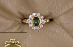 Green Maine Tourmaline and Diamond Ring from Cross Jewelers