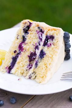 "Lemon Blueberry Cake with Cream Cheese Frosting (Cooking Classy). ""This has got to be my new favorite summer cake! I can't wait for all the summer get togethers so I have an excuse to make this again. Just Desserts, Delicious Desserts, Yummy Food, Summer Desserts, Sweet Recipes, Cake Recipes, Dessert Recipes, Loaf Recipes, Frosting Recipes"