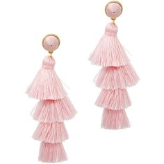 BAUBLEBAR Gabriela Gold-plated Tassel Earrings ($79) ❤ liked on Polyvore featuring jewelry, earrings, gold plated earrings, light pink jewelry, tassel jewelry, gold plated jewelry and baublebar