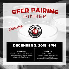 The Parallel 49 Craft Beer Pairing Dinner At Edith + Arthur – You're Invited!