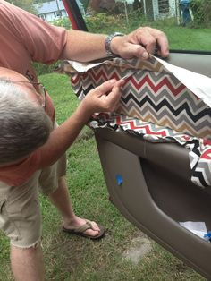 A Stepping Stone: Pimp Your Ride-Excellent little how to fix the fabric interior door panel.