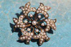 Antique Art Nouveau Jugendstil 10K Yellow Gold Snowflake Seed Pearl Pin Brooch | eBay