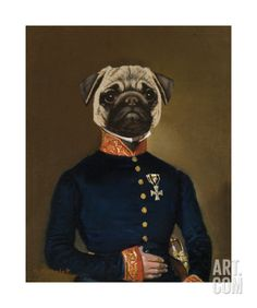 """""""Pug Arrives"""" anthropomorphic dog art by Thierry Poncelet Old Pug, Wall Art Prints, Poster Prints, Frames For Canvas Paintings, Affordable Wall Art, Cool Posters, Dog Portraits, My New Room, Dog Art"""