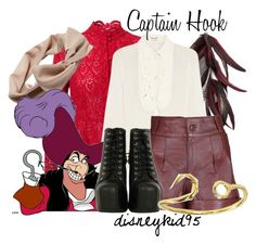 Captain Hook by disneykid95 on Polyvore featuring polyvore, fashion, style, Yves Saint Laurent, Valentino, VIPARO, Jeffrey Campbell, Giles & Brother, Tasha, Disney and clothing