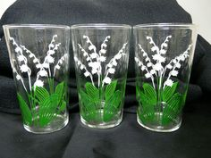 3 Vintage Lily of the Valley Drinking Glasses Tumblers White Flower Green Leaves