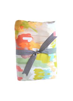 Watercolor Ikat crib sheet by Candy Kirby Designs.