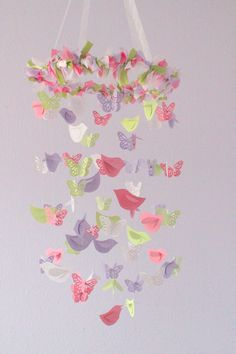 Butterfly & Birds Mobile in Lavender Salmon by LovebugLullabies