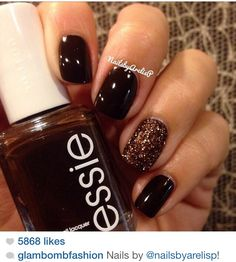 Nails chocolate and brown glitter