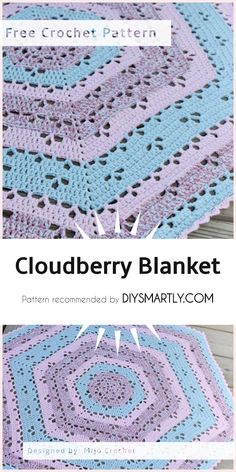 Cloudberry Blanket - Free Crochet Pattern If you use the same yarn and gauge as indicated in the pattern this blanket will measure approximately 85 cm between Crochet Baby Blanket Beginner, Crochet Blanket Patterns, Crochet Blankets, Baby Blankets, Crochet Afghans, Baby Afghans, Baby Afghan Crochet Patterns, Crochet Quilt, Baby Patterns