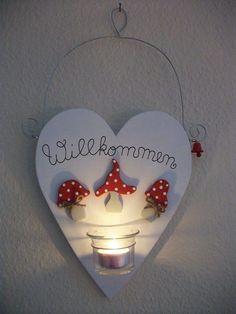 Deko-Objekte - Herz mit Fliegenpilzen und Kerzenglas - ein Designerstück von --Pilzglueck-- bei DaWanda