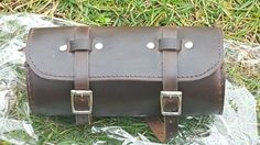 Leather Round Bike Bag Dark Brown for most bikes stylish Handcrafted bicycle bag #Unbranded