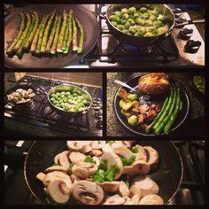 Eat clean, Eat mean.   Simple is best! Brussel sprouts, asparagus, mushrooms, baked spud!