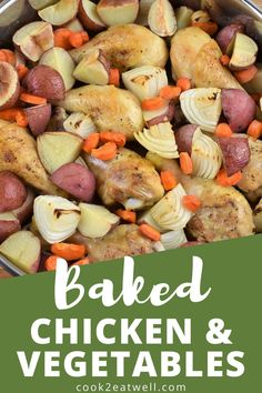 This baked chicken and vegetables is a whole meal in one pan. This dish is really easy to prep and cook. While the cooking time is a little over an hour, it's totally hands off. Once it's done, you'll have a wholesome, filling and delicious meal with very little fuss. Kfc Chicken Recipe, Chicken Recipes Video, Healthy Chicken Recipes, Ways To Cook Chicken, Yum Yum Chicken, Chicken And Vegetables, Cooking Time, Food Videos