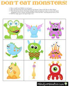 Free Printable Monster Match Game  Artsy fartsy Free printable