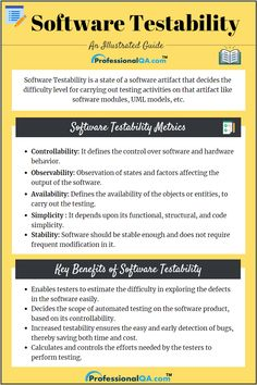 Software Testability is a state of software artifact that decides the difficulty level for carrying out testing activities on that artifact. Computer Technology, Computer Programming, Computer Science, Software Architecture Design, Technical Communication, Cloud Computing Services, Computer Basics, Accounting And Finance, Software Testing