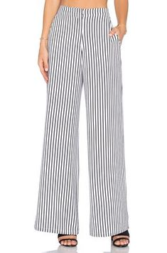 Shop for House of Harlow 1960 x REVOLVE Mona Pant in White & Black Stripe at REVOLVE. Modelos Plus Size, Kinds Of Clothes, Fashion Essentials, Palazzo Pants, Wide Leg Trousers, Blouse Styles, Revolve Clothing, Pants Outfit, Fashion Outfits
