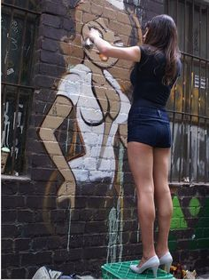 this looks posed . but i like to think that all girl graffiti artist do their tagging in high heels 3d Street Art, Street Art Painting, Amazing Street Art, Street Art Graffiti, Street Artists, Street Work, Urban Graffiti, Wall Street, Awesome Art