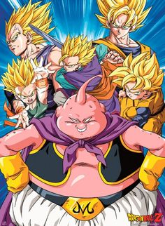 Poster Dragon Ball Z Buu Vs Super Saiyans (52x38)