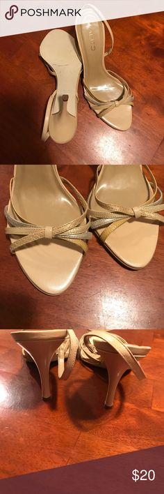 ALDO strappy 3.5 inch heels Beautiful cream colored heels by ALDO. Shoes have no damage and have only been used once. Aldo Shoes Heels