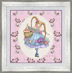 """This framed print © Nancy Lee Moran is on Fine Art America. Click the image of """"Karli Star With Butterflies And Raspberries In Pink"""" to see it, then to choose your own mat, frame, & print size. This three-inch frame is #BWM3 in Whitewash (in the """"White"""" drop-down menu). Mat is Silver Florentine, two inches wide. Inner mat is Las Cruces Purple in size 0.25 inches.  Print size as shown is 24 x 24 inches. #braids #cute #mushrooms #purple #raspberries #redhead #whimsy #FineArtAmerica…"""