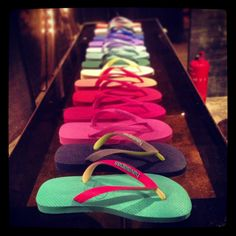 Flip flops galore! #Havaianas multi coloured #flipflops, these are the basic models.  #foot #feet #footwear #fashion #fashionhk #hk #hkigers #hkfashion #instapic #instacool #instagood #instamood #instadaily #instaplace